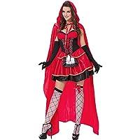 LILICAT☃ Traje de Chal con Capucha roja con Capucha de Montar con Capucha Mujer Vestido de Fiesta con Capucha y Gorra roja de 3 Piezas de Little Gothic