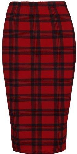 Womens Longer Length Red Tartan Plaid Skirt.
