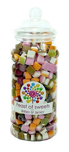 DOLLY MIXTURE 600g+. Feast of Sweets Jar by Britten & James®. Dulces británicos tradicionales en un frasco reutilizable de plástico de 970 ml. Un regalo perfecto para Navidad, cumpleaños, padre, madre, abuela, abuelo, bodas y fiestas.