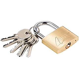 AGT Outdoor-Schlösser: Vorhänge-Schloss aus Messing, 43 mm, 6 Schlüssel (Schlösser mit Zusatzschlüsseln)