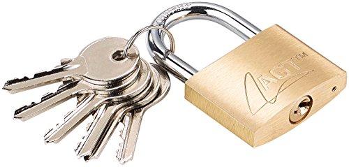 AGT Hängeschloss: Vorhänge-Schloss aus Messing, 43 mm, 6 Schlüssel (Vorhängeschloss mit Schlüssel)