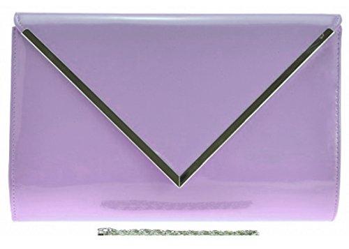 Damen Kunstleder lack übergroß Unterarmtasche Glänzend Clutch Helles Lila