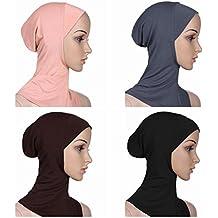 Ksweet 4 X Pañuelo Sombrero Mujeres Musulmanas Hijab Deportes y Aire Libre Bufanda de Cuello Pañuelos