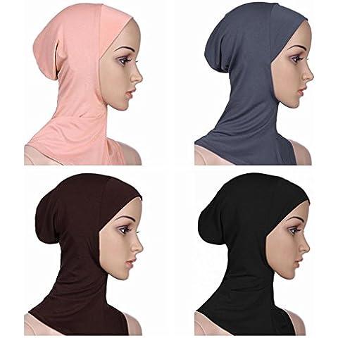 Ksweet 4 Pack Hijab Style Sciarpe Turbante Islamico da Donna Sottosciarpa Underscarf Copre il collo (multicoloured-01) - Sport Bandana Per Cani