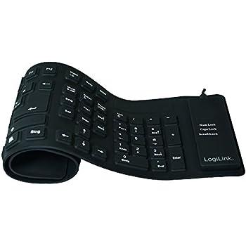 LogiLink Tastatur Flexibel Wasserfest USB mit PS/2 schwarz