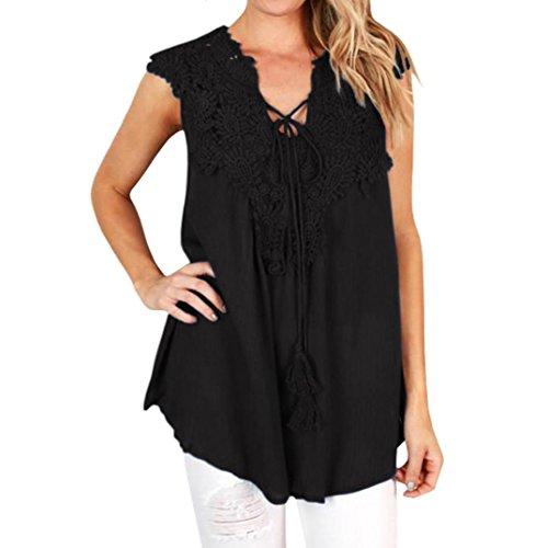UFACE Promotionen Lace Stitching Lose äRmellose Weste Frauen Sommer Spitze Top Bluse Casual Tank Tops T-Shirt (2XL, Schwarz)