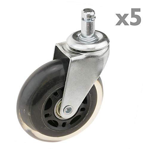 PrimeMatik - Lenkrollen Schwenkrollen Industriell Rad aus PVC ohne Bremse 75 mm M11 für Stuhl 5-Pack