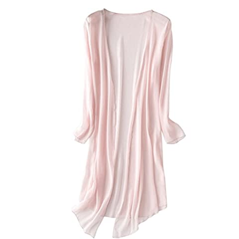 LUOEM Femmes Sheer Chiffon Loose Shawl Kimono Cardigan Top Chemise Blouse Couvercle Solid Couleur Taille L (Rose)