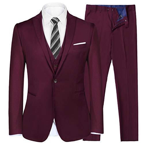 iClosam Herren Anzug 3-Teilig Slim Fit Business Herrenanzug Smoking mit Weste Jacke und Hose -