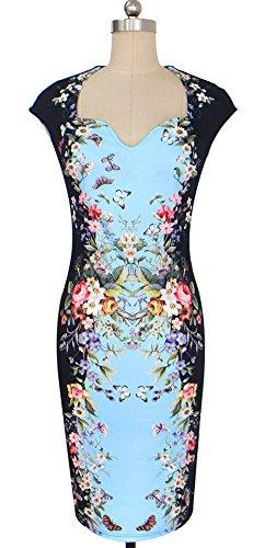 U8Vision Damen V-Ausschnitt Elegant Sommer Kleid Wickelkleid Cocktailkleid Bleistift Kleider Gr.S-XXL Blau