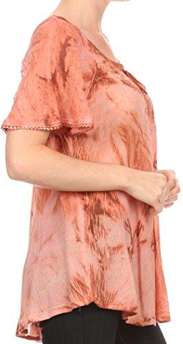 Sakkas Hana Abbindebatik Relaxed Fit Stickerei-Kappen-Hülsen Bauer Batik Bluse / Top Rost