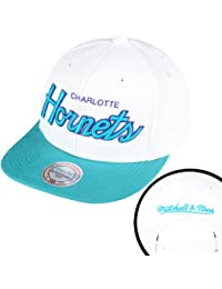 Mitchell & Ness - Casquette Snapback Homme Charlotte Hornets Throwback All White