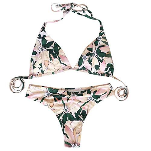 QingJiu Damen Sommermode Blattdruck Bikini Hängenden Hals Split Badeanzug Set -