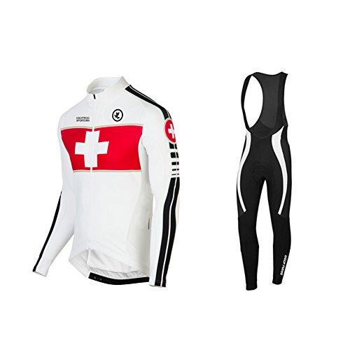 Uglyfrog Radtrikot Fahrradbekleidung Set Langarm Winddicht Herren Winter Thermische Fleece mit 3D Polster Hosen (Radtrikot Fox)