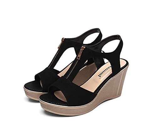 DANDANJIE Damenschuhe Leder Sommer Komfort Sandalen Keilabsatz Peep Toe für Büro & Karriere Sandalen (Color : Black, Größe : 43)