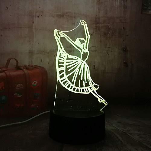 Neuheit Schöne Mädchen Ballett Geschenk Led Romantische Beleuchtung 3D Acryl Rgb Nachtlichter Usb Schreibtisch Lampe Zimmer Mädchen Dekoration Geschenk Sieben Farben 20 * 14 Cm (Riss Basis Touch) -