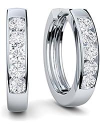 Creolen Silber Damen 925 klein Damenohrringe Silber-Ohrringe von AMOONIC echt silberne Geschenk für Frauen Sie Modeschmuck kein Edelstahl! Kreolen Klappcreolen dünne FF01SS925ZIFA