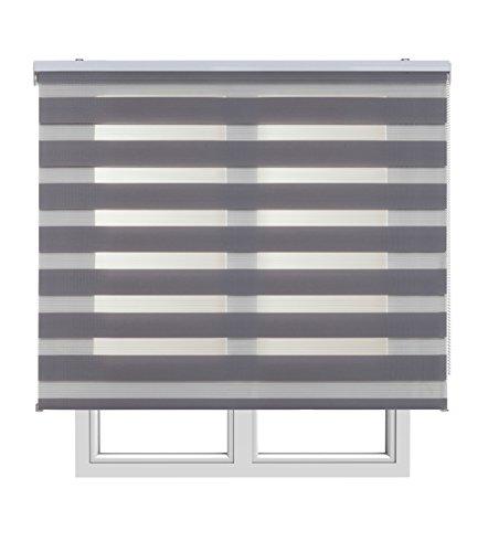 Estores Basic, Stores noche y día, Gris, 90x160cm, estores para ventana, persianas enrollables para el interior.