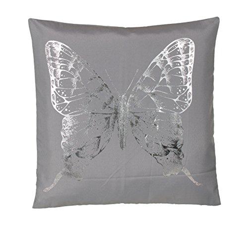 Brandsseller Trendline Kissen Zierkissen Dekokissen Kuschelkissen - 40 x 40 - Silvershine Butterfly - Grau - MIT FÜLLUNG