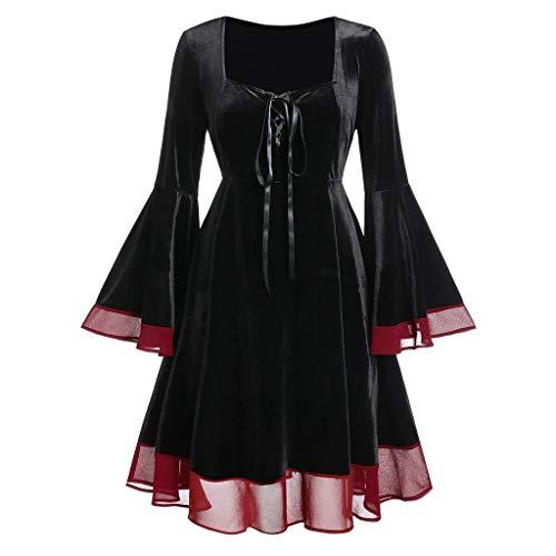 YAM DER Damen Gothic Kleid Karneval Kostüm Cosplay Kleider Langarm Einfarbig Kleider Mittelalter Kleid Große Größen Renaissance Kostüm Halloween Kleider mit Trompetenärmel (Große Renaissance Kostüm)