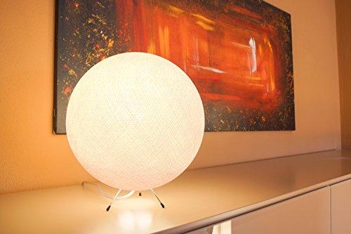 Handgearbeitete Kugellampe aus Baumwolle - Kugelleuchte in weiß, innen