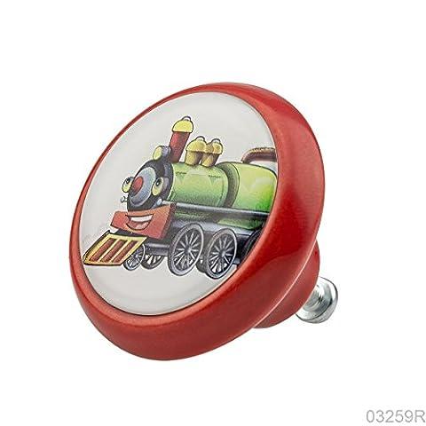 Qualité supérieure Bouton Meubles Céramique 03259R BrK-Rouge-015 Chemin de fer pour les enfants & adultes - 3D Effet -100% Fabriqué en Allemagne - Knobs4Kids