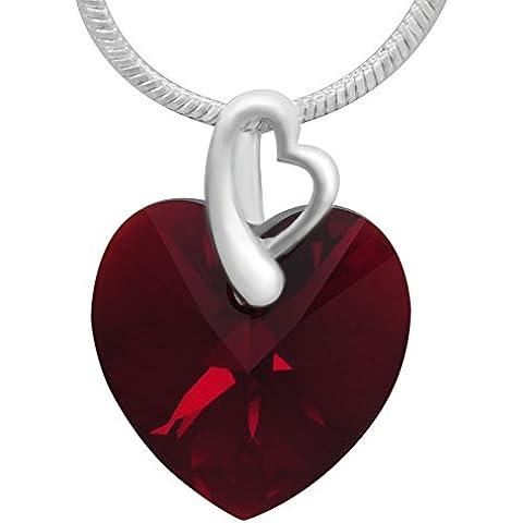 Collana da donna in argento sterling con pendente a forma di cuore rosso scuro in cristalli Swarovski