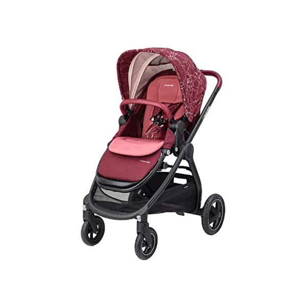 Maxi-Cosi Adorra Baby Pushchair, Comfortable and Lightweight Stroller with Huge Shopping Basket, Suitable from Birth, 0 Months - 3.5 Years, 0-15 kg, Marble Plum Maxi-Cosi Urban stroller, suitable from birth to 15 kg (birth to 3.5 years) Cocooning Seat: The luxury of a large padded seat for the extra comfort of your little one A lightweight stroller less than 12 kg that makes walking effortless 1