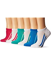 adidas Niñas acolchada 6 unidades no show, niña, color White/Shock Pink/Bright Blue/Shock Mint/Light Onyx, tamaño large