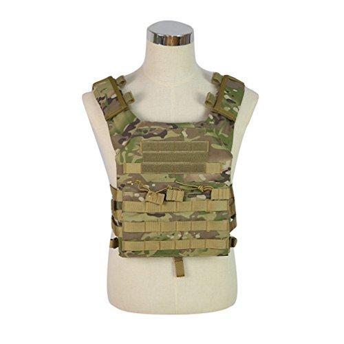 alexsport Plate Carrier MOLLE TACTICAL WESTE Brustschutz mit verstellbare Schultergurte und Hüftgurt, camouflage - Softair Für Kinder Weste