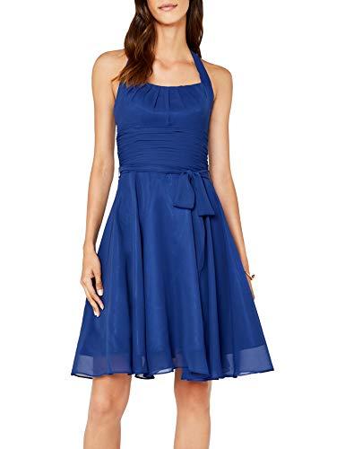 Neckholder Brautkleider (Astrapahl Damen Cocktail Kleid Neckholder, Knielang, Einfarbig, Gr. 36, Blau)