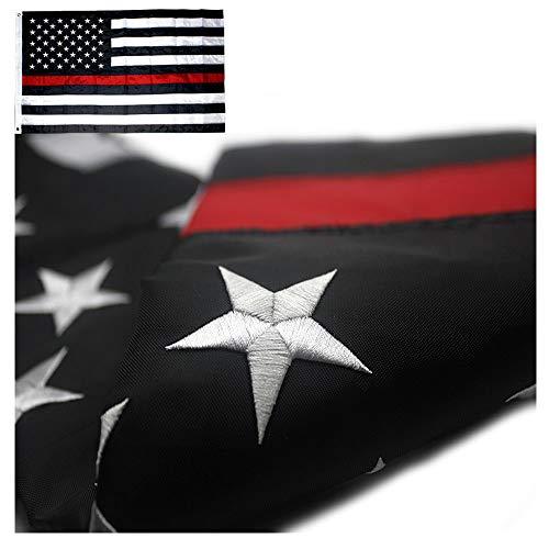 DÜNN Blau/Rot Line und American Flagge mit Ösen 3x 5-gestickte Sterne und Streifen USA Flaggen, red line, 3 by 5 Foot