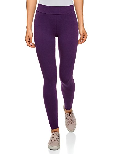 Oodji ultra donna leggings basic in maglia, viola, it 44 / eu 40 / m