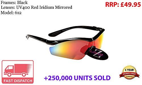 Rayzor professionali leggeri nero UV400 Sport Wrap occhiali da sole in Running con una lente rossa Iridium specchio.
