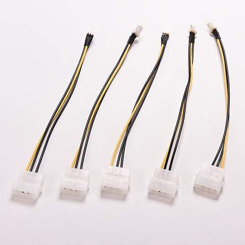 strimusimak 5 Stück Verbindungskabel 4-Pin Molex/IDE zu 3-Pin CPU-Gehäuse Lüfter Stromkabel Adapter 20cm -