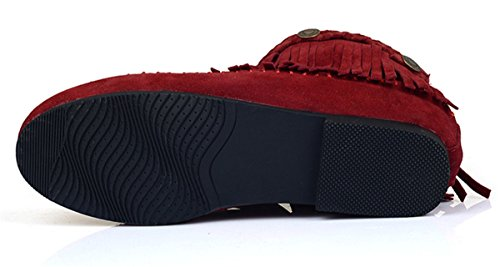 YE Damen Flache Wildleder Stiefeletten mit Reißverschluss und Fransen Bequeme Short Ankle Boots Herbst Schuhe Rot