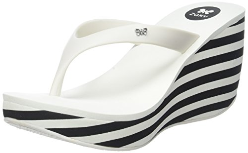 Zaxy Damen Lipstick 2 Plateau, White (White Stripe), 39 EU (Stripe Wedge Sandals)