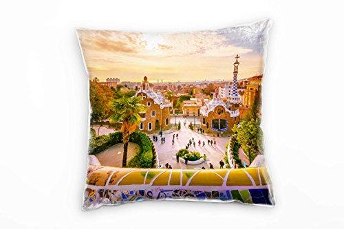 Paul Sinus Art City, Barcelona, Sonnenuntergang, Bunt Deko Kissen 40x40cm für Couch Sofa Lounge...