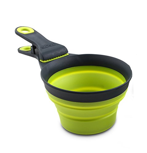 Dexas Popware Pets Collapsible KlipScoop Feed Portion Control Green 1 Cup 8oz (Food Storage Pet Shop)