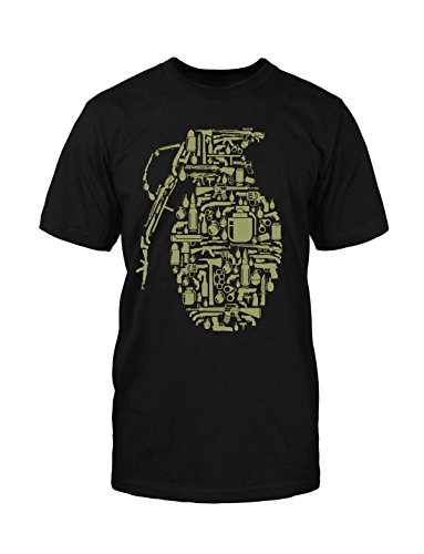 Granate T-Shirt Neu Fun Handgranate Old School Funny War Krieg Game Retro Kult Schwarz