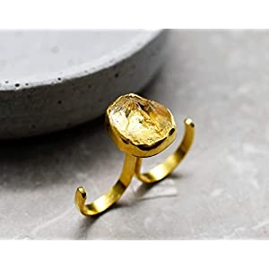 925er Silber/18k vergoldet Rohstein Citrin Ring