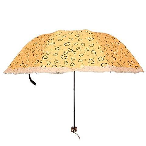 Mdrw-fashion Parapluie trois pli Parapluie UV Dentelle Parasol Parapluie, jaune