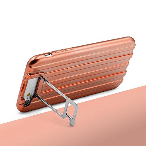 Coque iPhone 6 / 6s, Urcover Housse Étui [avec Support] Téléphone Smartphone TPU Ondulé Look Metal Transparent Rose Dorée Apple iPhone 6 / 6s Case Rose Dorée