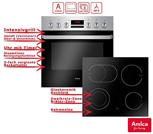 Amica EHC 933 015 E Einbauherd Set | 9-fach Multifunktion Backofen mit Grill und Umluft | Rahmenloses Glaskeramik Kochfeld mit Zweikreis und Bräterzone | Timer | Steam Clean (Umluft-backofen-grill)