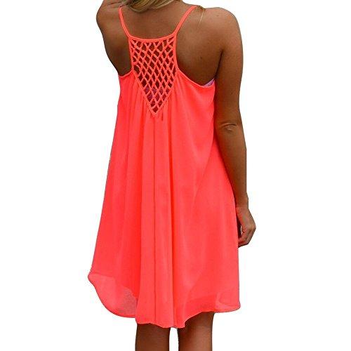 Womens Beach Dress, robe lâche d'été décontracté sans manches BOHO mini robes Rouge