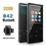 MP3 Player 32GB mit Bluetooth 4.2 unterstützen TWS Bluetooth Kopfhörer,Lautsprecher HiFi-Musik FM-Radio Schrittzähler Armband,unterstützung Zufallswiedergabe (32GB und AUX Recording)