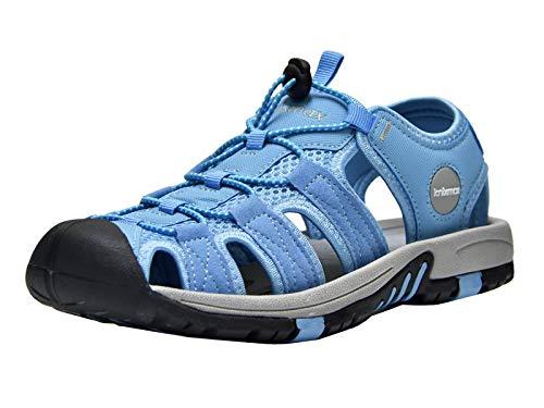 Knixmax Sandal Strandschuhe Trekkingsandalen Damen Herren Komfort Breite Füße Wasserschuhe - für Wandern am Strand im Freien Sommer Sport-& Outdoor Sandalen Blau 40 EU