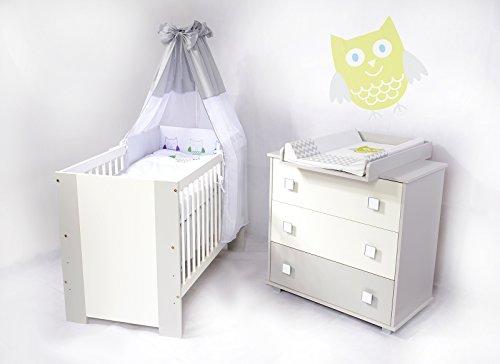 Bettwäsche Voll Eule (Sparset Babyzimmer mit Babybett , Wickelkommode und vollem Ausstattung