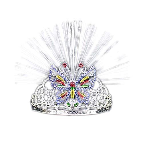 Licht Kostüm Mädchen Led - WeihnachtenHaarreifmitLichtLEDStrass/Kristall KroneTiaraStirnband für Neujahr SilvesterParty Kinder Mädchen Erwachsene Kostüm (Schmetterling)