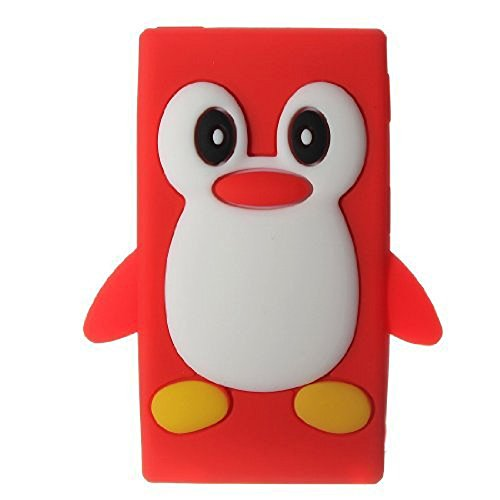 Tsmine Apple Ipod Nano 7th Generation Penguin Cartoon Case - Cute 3D Penguin Soft Silicone Back Washable Cover Case Protective Skin for iPod Nano 7th Gen, Red Ipod Nano Silicon Cover